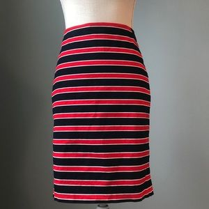 The Limited Red/Navy Striped Pencil Skirt